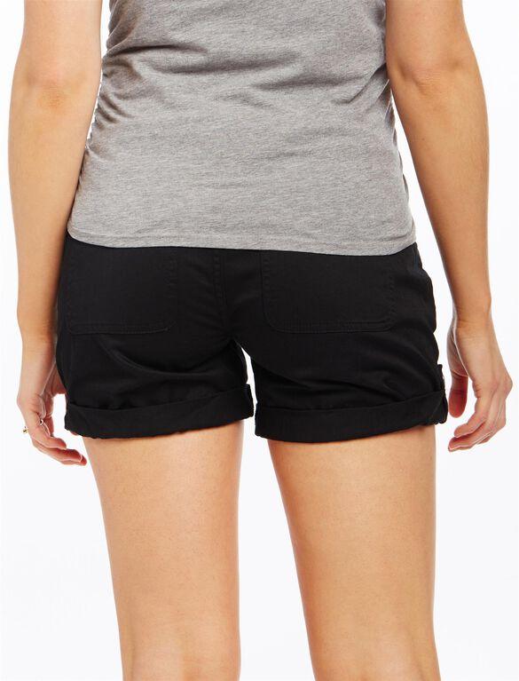 Secret Fit Belly Roll Hem Maternity Cargo Shorts, Black