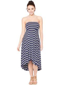 Strapless High-low Hem Maternity Dress- Stripe, Navy/White