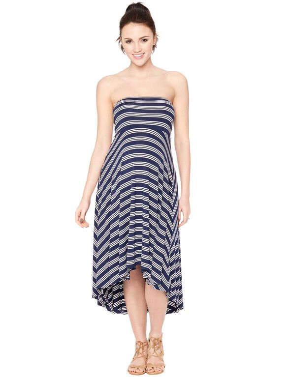 Strapless High-low Hem Maternity Dress- Stripe, Navy/White