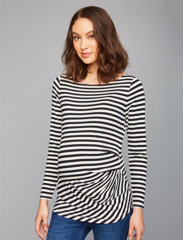 Side Pleat Maternity Top, Black/White Stripe