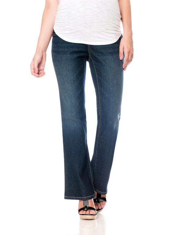 Motherhood Indigo Blue Petite Bootcut Maternity Jeans, Midnight Dark