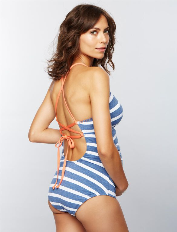 Splendid Striped Maternity One Piece Swimsuit, Chambray Stripe