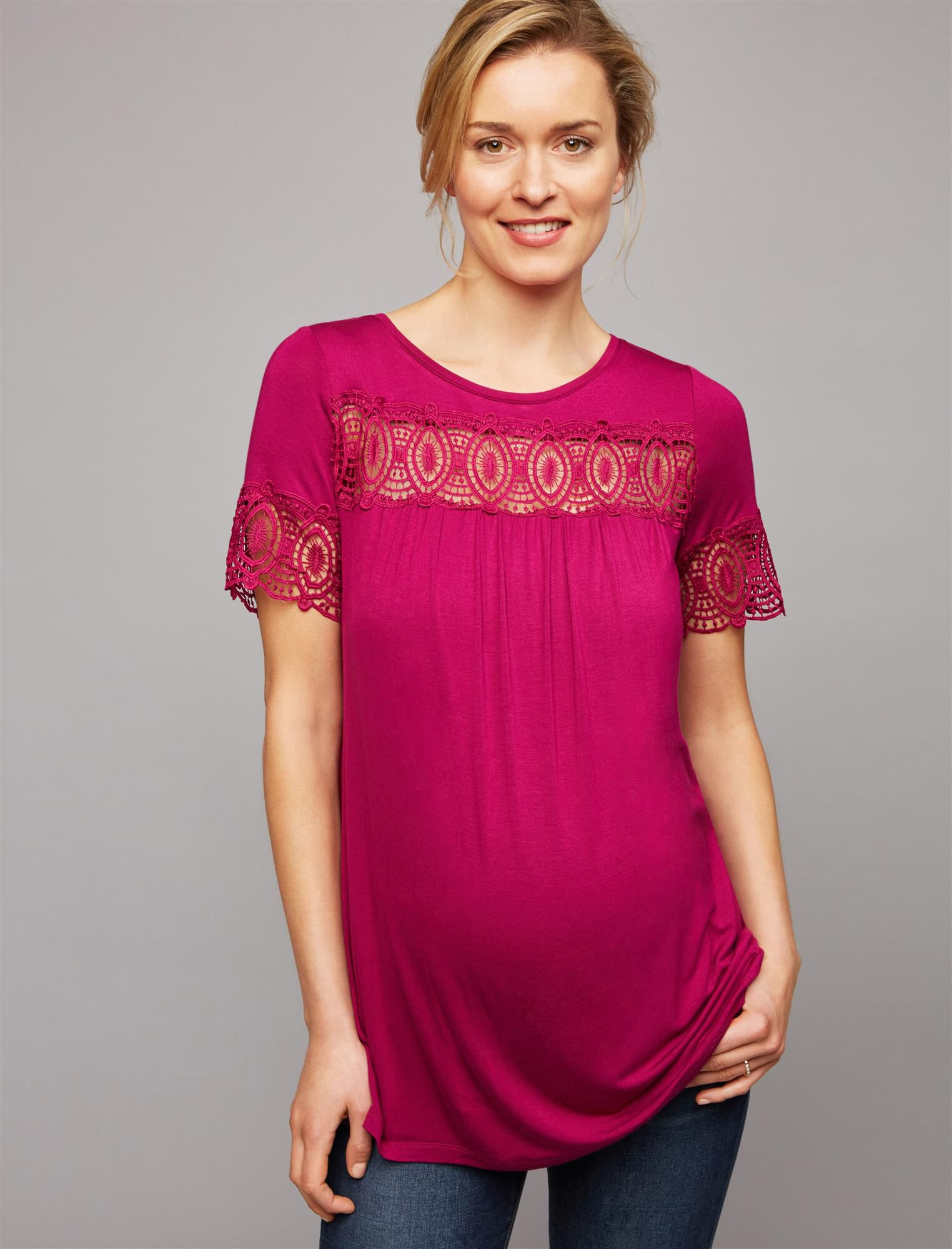 Embroidered Lace Trim Maternity Tee