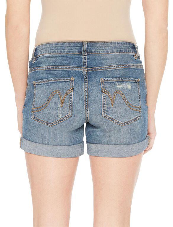 Under Belly 5 Pocket Maternity Shorts, Medium Wash