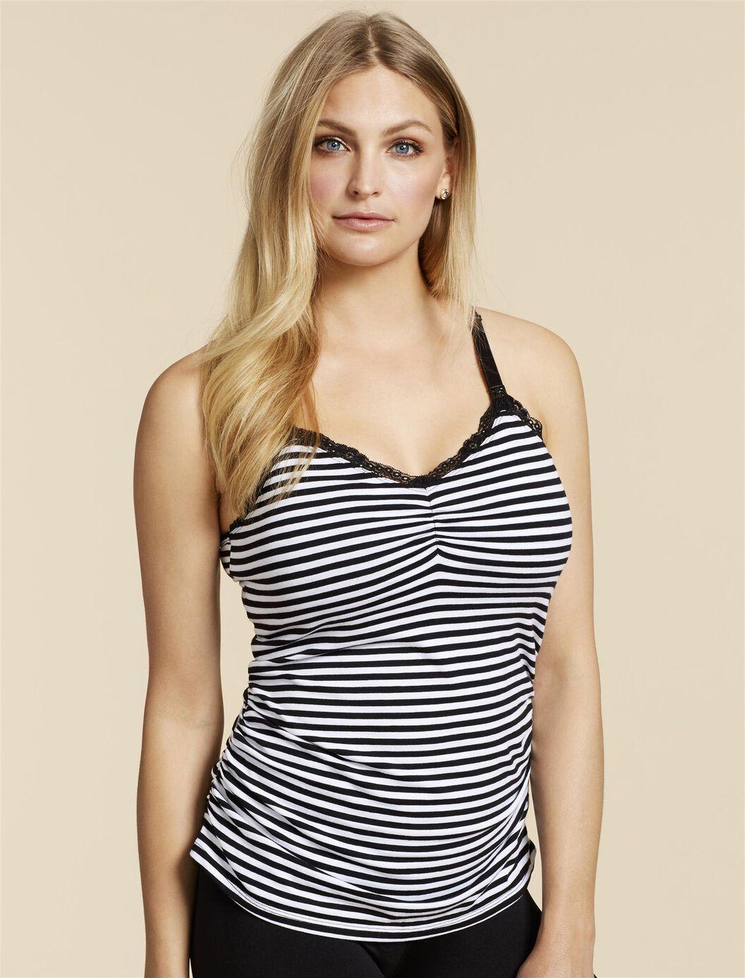 Jessica Simpson Clip Down Shelf Bra Nursing Cami- Stripe at Motherhood Maternity in Victor, NY | Tuggl