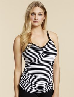 Jessica Simpson Clip Down Shelf Bra Nursing Cami- Stripe, Black/White Stripe
