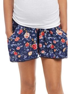 Secret Fit Belly Cuffed Maternity Shorts, Navy Floral