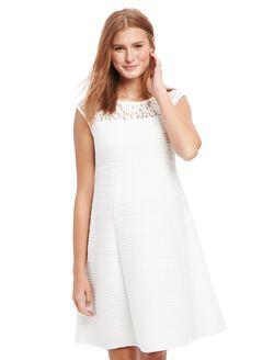 Lace Detail Maternity Dress, White
