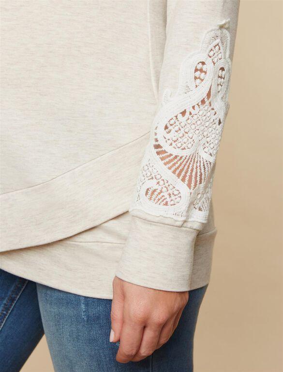 Lace Sleeve Maternity Sweatshirt, Oat