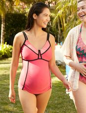 Colorblock Cross Back Maternity Swim Top, Foxy Pink