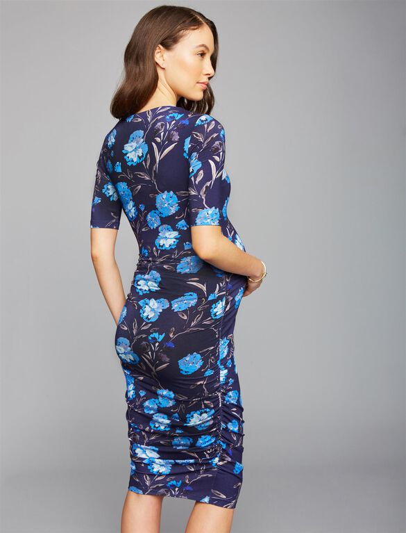 Ruched Maternity Dress- Blue Floral, Blue Floral