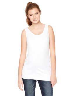 Side Ruched Scoop Neck Maternity Tank Top- Solid, White