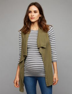 Splendid Open Front Challis Maternity Vest, Olive