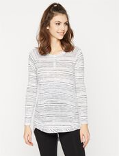 A Pea In The Pod Henley Maternity Tunic, Black/White