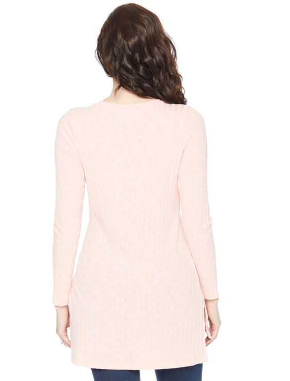 Side Slit Maternity Shirt, Peach