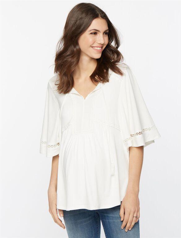 Dainel Rainn Decorative Trim Maternity Top, Soft White