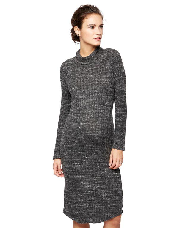 Monrow Maternity Turtleneck Dress, Marled