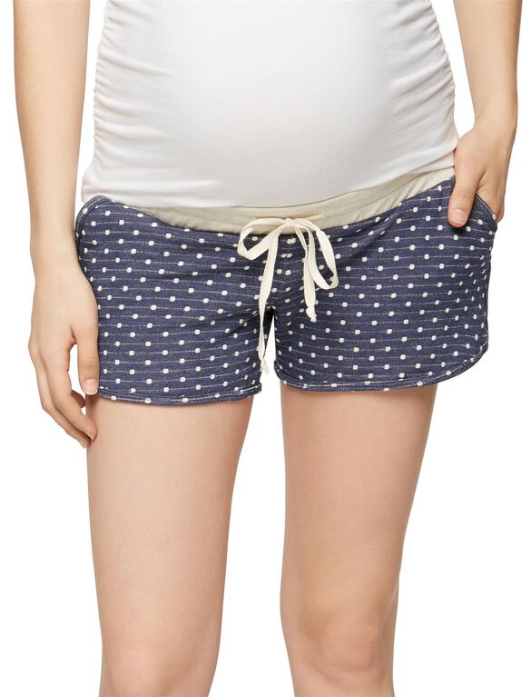 Pull On Style Maternity Shorts, Navy/White Dot