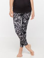 Beyond The Bump Adjustable Belly Super Stretch Maternity Crop Leggings, Black/White Print