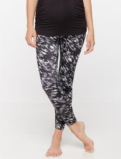 Beyond The Bump Adjustable Belly Super Stretch Maternity Crop Leggings, Black/White Print