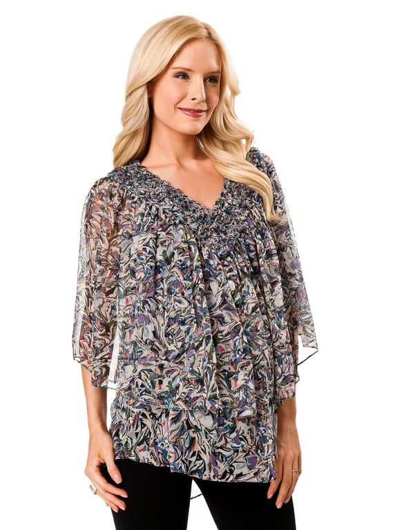 Poncho Maternity Pull Over, Multi Color Petal Print