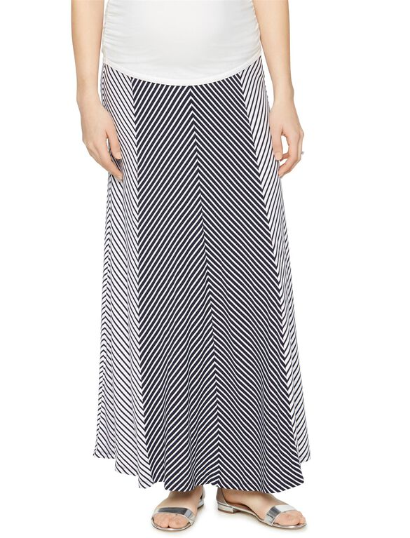 Secret Fit Belly Multi Stripe Maternity Maxi Skirt, Navy/White