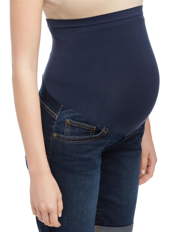 Secret Fit Belly Cuffed Maternity Bermuda Shorts, Soggy Wetland Dark Wash