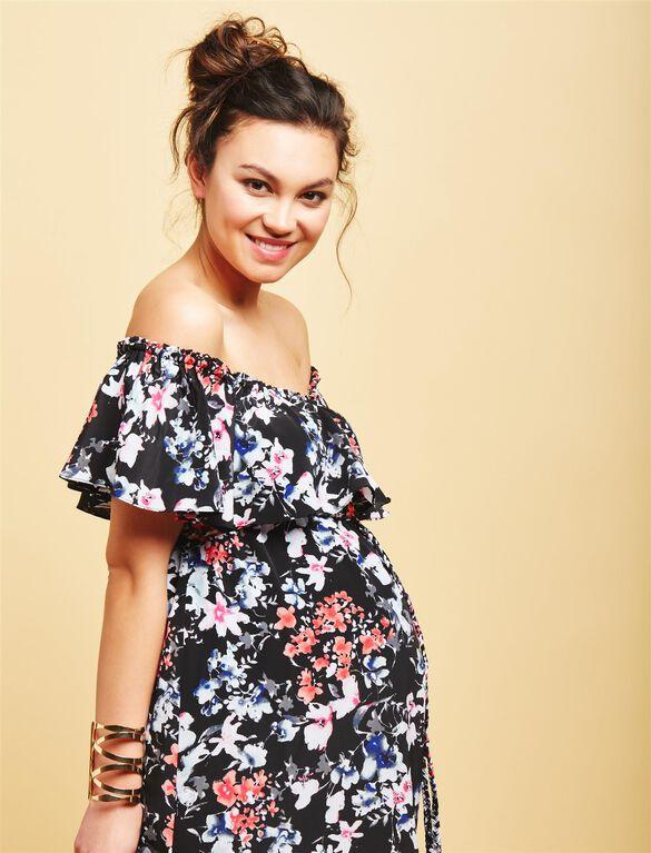 Off The Shoulder Maternity Maxi Dress, Floral Print