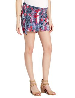 Jessica Simpson Under Belly Smocked Waist Maternity Shorts, Americana Print