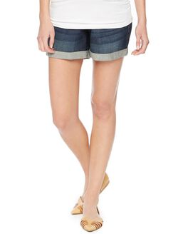 Indigo Blue Secret Fit Belly 5 Pocket Maternity Shorts, Dark Wash