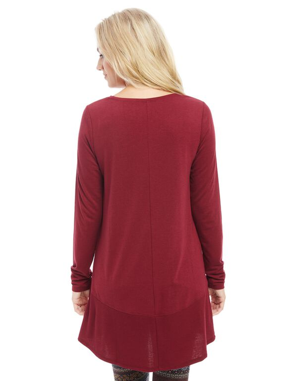 Long Sleeve Rib Knit Hem Maternity Tunic, Zinfandel
