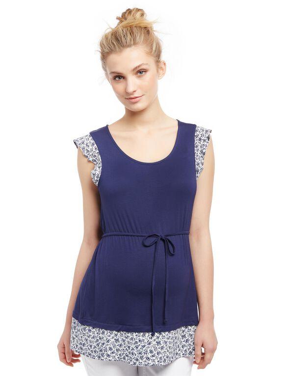 Flutter Sleeve Knit Woven Maternity Shirt, Navy