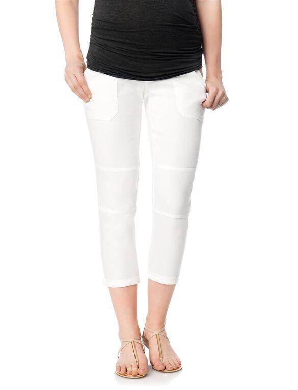 Secret Fit Belly Linen Maternity Crop Pants, White