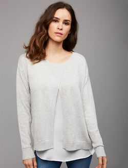 Side Access Mock Layer Nursing Top, Grey