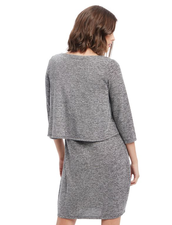 Tiered Nursing Dress - Grey, Grey