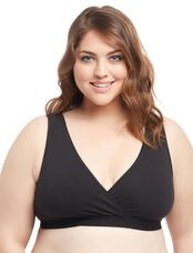 Plus Size 2 Pack Wrap Nursing Sleep Bra, Black/Gray
