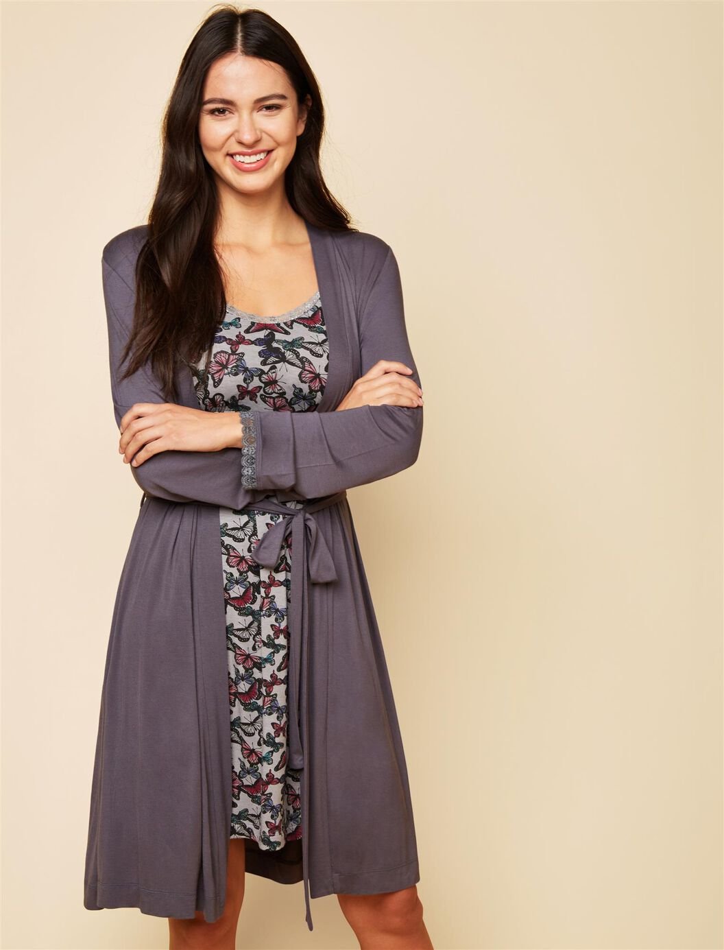 Bump In The Night Tie Front Nursing Robe at Motherhood Maternity in Victor, NY | Tuggl