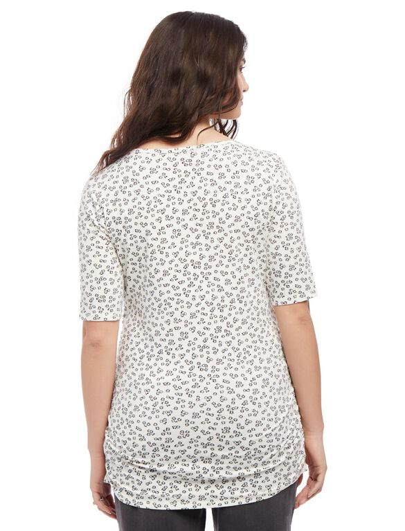 Plus Size Side Ruched Maternity Tee- Print, Black/White Print