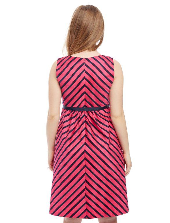 Striped Sateen Maternity Dress, Pink/Navy Stripe