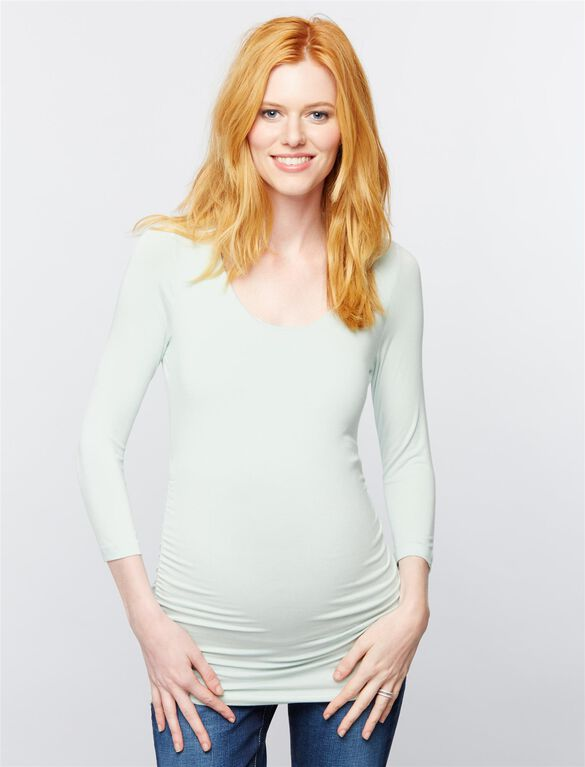 Scoop Neck Side Ruched Knit Maternity Tee- Solid, Teal Mist