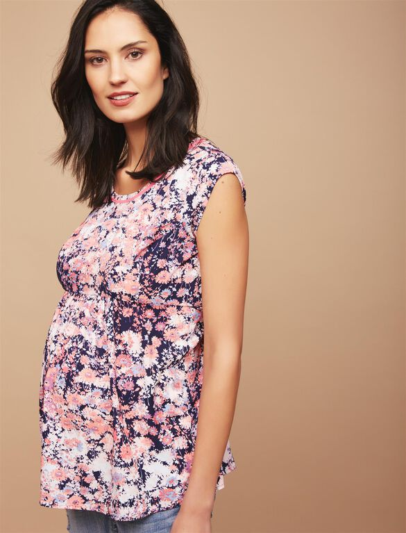 Back Zip Peplum Maternity Top- Floral, Pink Navy Floral