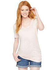 V-neck Side Ruched Maternity Tee, Pink