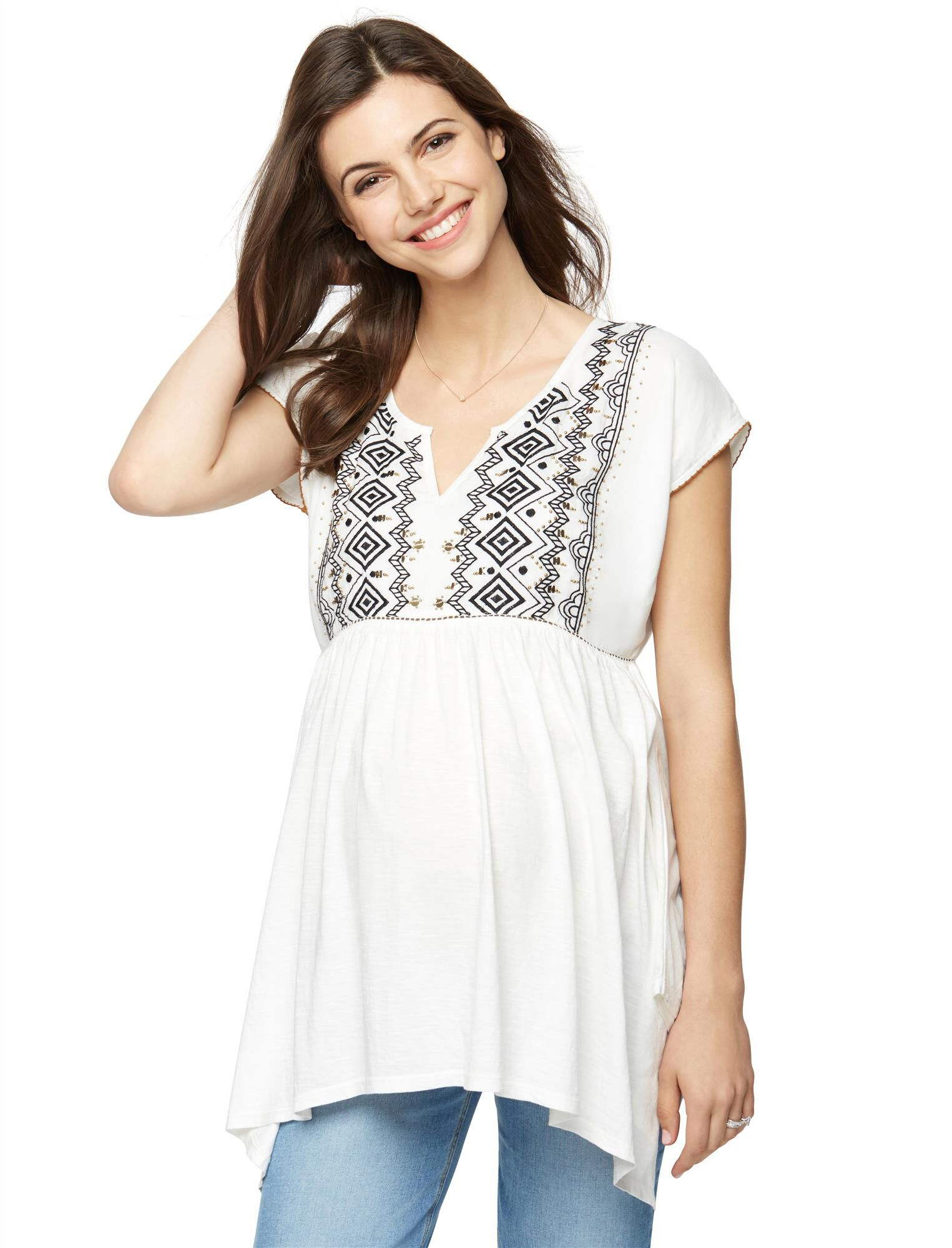 Embroidered Knit Woven Maternity Top