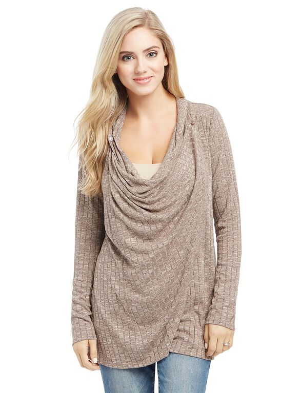 Pull Over Wrap Nursing Top, Taupe