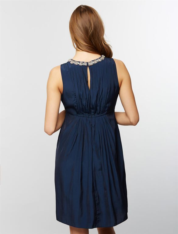 Embellished Neckline Maternity Dress- Navy, Navy