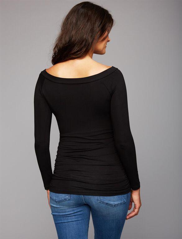 Isabella Oliver Off The Shoulder Maternity Top, Black