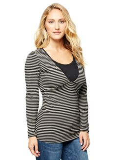 Ripe Penny Striped Nursing Tee, Black Stripe