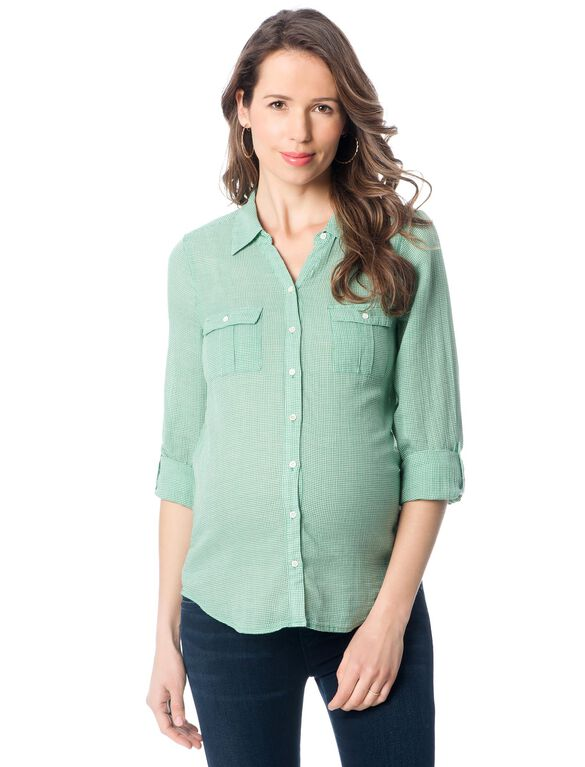 Maternity Blouse, Green Print