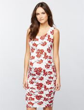 Sleeveless Ruched Maternity Dress, Cherry Blossom Print