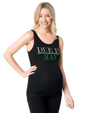 Due in May Maternity Graphic Tank Top, Emerald Glitter